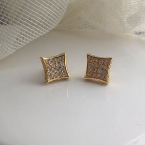 Other - NEW UNISEX gold dipped- diamond encrusted earrings